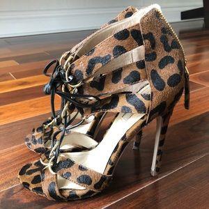 Leopard Lace Up Heels